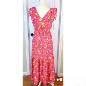 Gap V- Neck Pink Floral Midi Dress Size XS